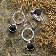 Dark Halo Earrings & Black Hex Ring